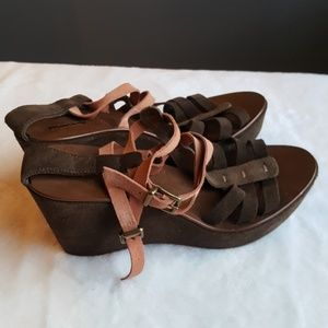 J. Crew Italian Suede Leather Wedge Sandals